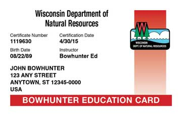 Wisconsin safety education card