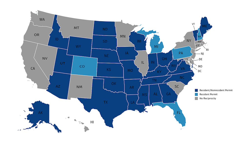 Iowa Concealed Carry Reciprocity Map