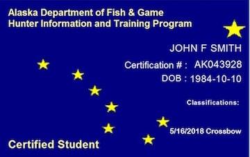 Alaska safety education card