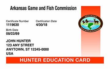 Arkansas hunter safety education card
