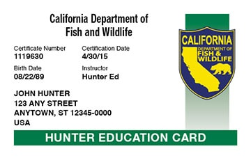 California hunter safety education card