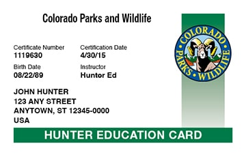 Colorado hunter safety education card