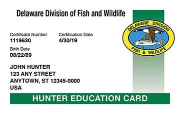 Delaware hunter safety education card