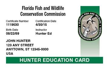 Florida hunter safety education card