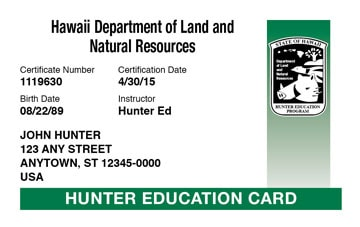 Hawaii hunter safety education card