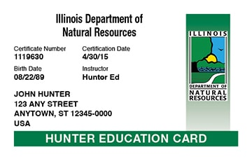 Illinois hunter safety education card