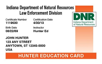 Indiana hunter safety education card