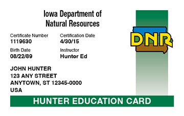 Iowa hunter safety education card