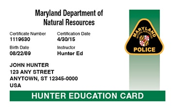 Maryland safety education card