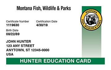 Montana hunter safety education card