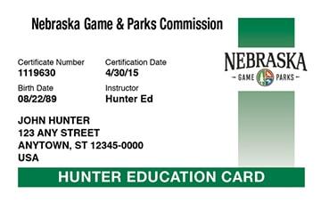 Nebraska hunter safety education card