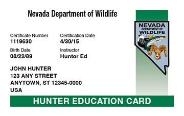 Nevada safety education card
