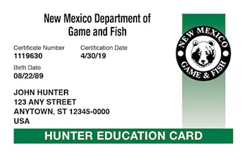 New Mexico safety education card