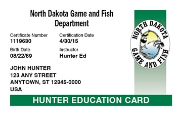 North Dakota safety education card