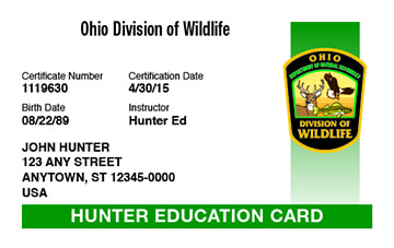 Ohio hunter safety education card