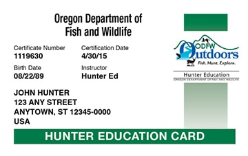Oregon hunter safety education card
