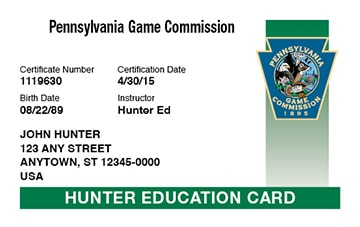 Pennsylvania hunter safety education card