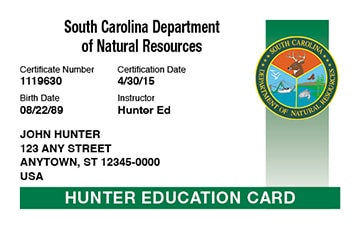 South Carolina hunter safety education card