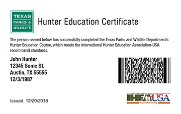 Texas hunter safety education card