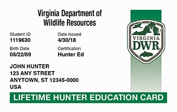 Virginia hunter safety education card