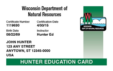 Wisconsin hunter safety education card