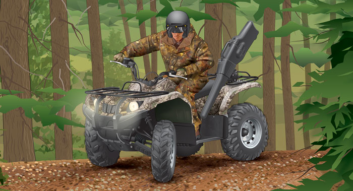 Illustration of hunter on an atv