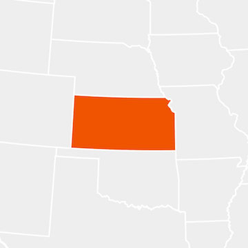 The state of Kansas highlighted within a larger map