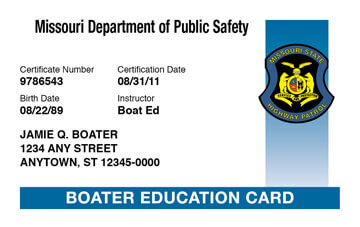 Missouri Boater Education Card