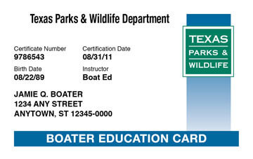 Texas Boater Education Certificate