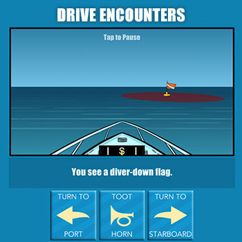Drive encounters, diver-down flag in the water