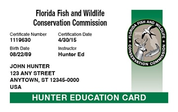 Florida Hunter Education Card