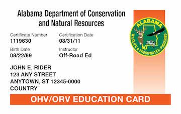 Alabama safety education card