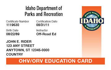 Idaho safety education card