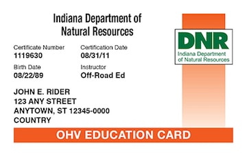 Indiana safety education card
