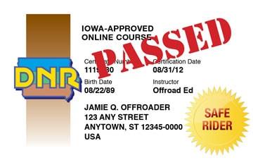 Iowa safety education card