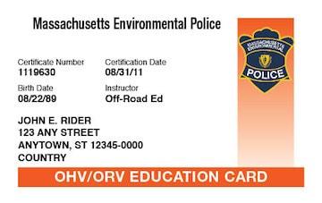 Massachusetts safety education card