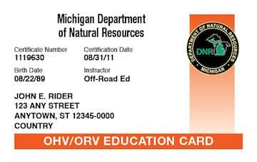 Michigan safety education card