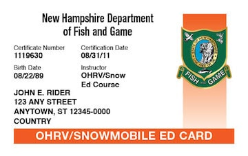 New Hampshire safety education card