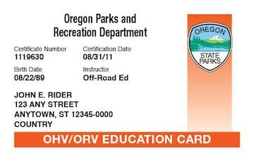 Oregon safety education card