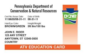 Pennsylvania safety education card