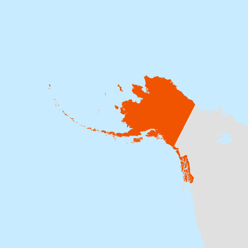 The state of alaska highlighted within a larger map