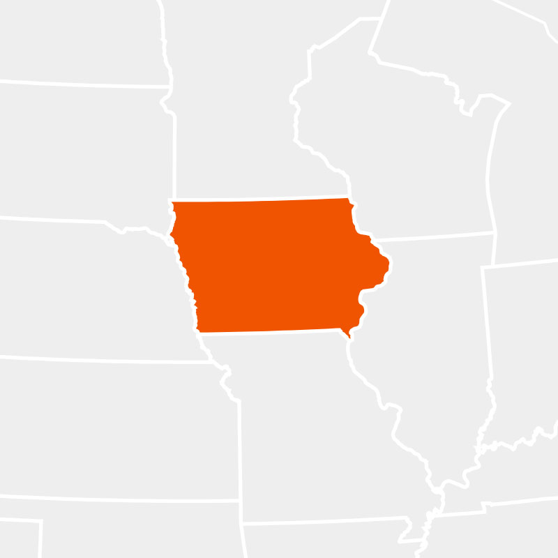 The state of iowa highlighted within a larger map