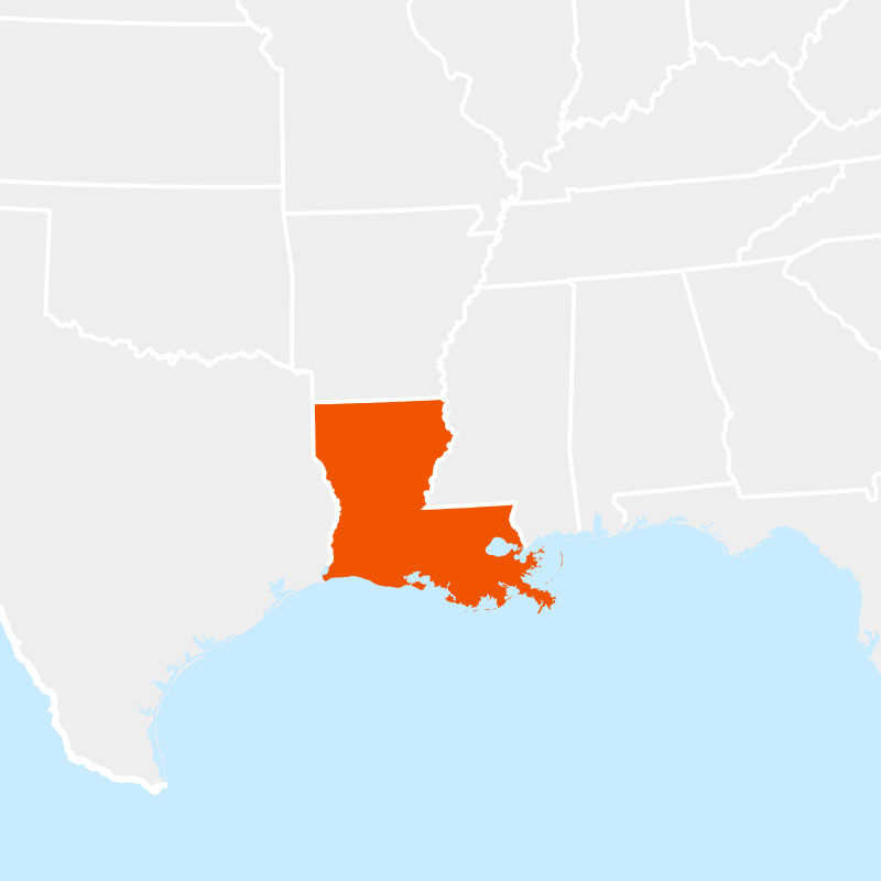 The state of louisiana highlighted within a larger map