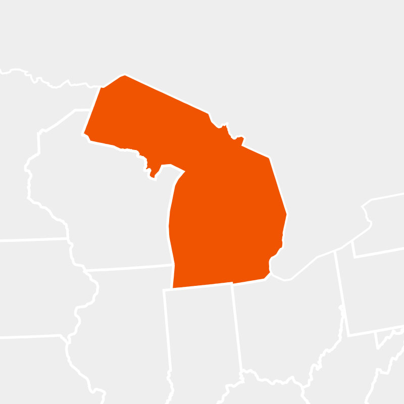 The state of michigan highlighted within a larger map
