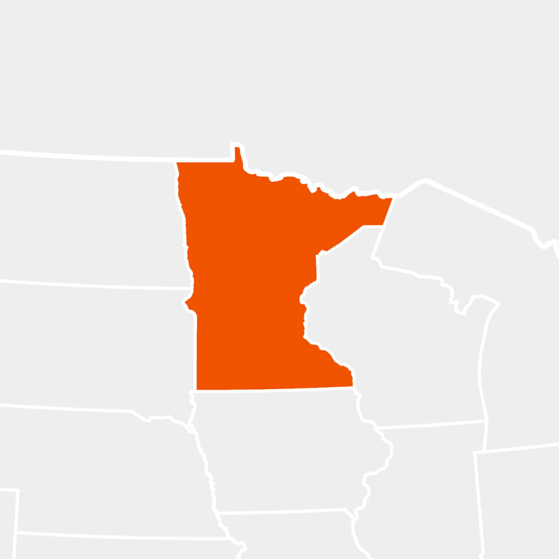 The state of minnesota highlighted within a larger map