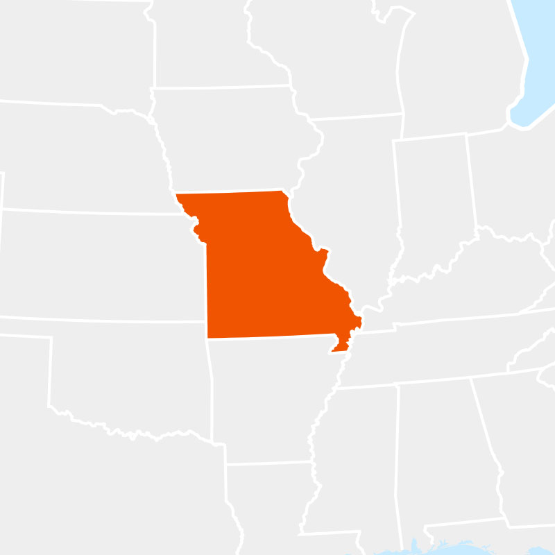 The state of missouri highlighted within a larger map