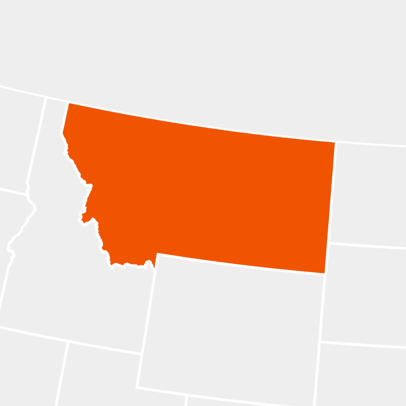 The state of montana highlighted within a larger map