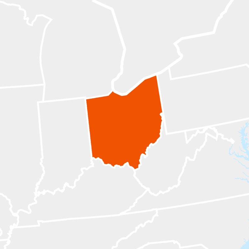The state of ohio highlighted within a larger map