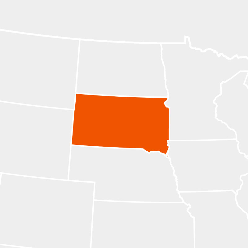 The state of southdakota highlighted within a larger map