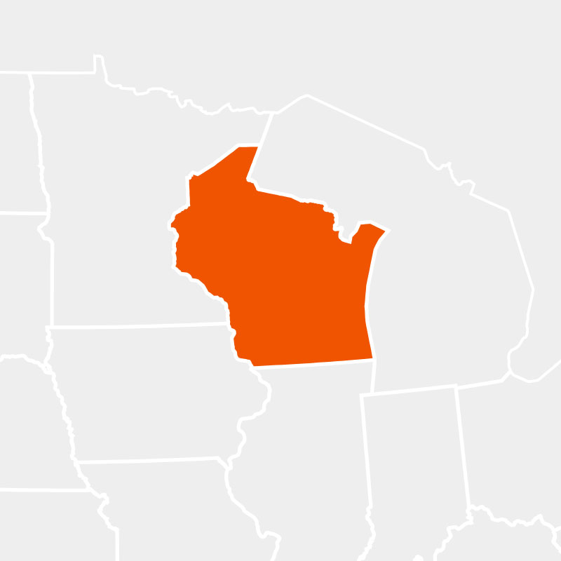 The state of wisconsin highlighted within a larger map